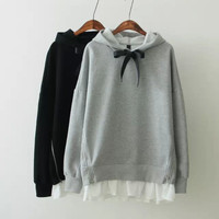 Long-Sleeve Hooded Ruffle Sweatshirt