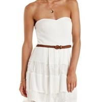 Ivory Belted Strapless Lace-Striped Dress by Charlotte Russe