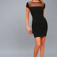 Bless this Mesh Black Mesh Bodycon Dress