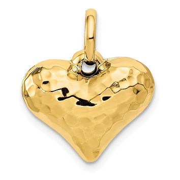 14K Yellow Gold Faceted Puffed Heart Pendant