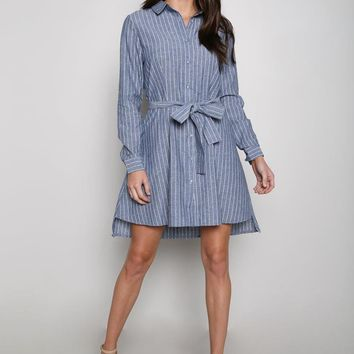 Pinstripe Blue Boyfriend Midi Shirt Dress