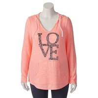 Miss Chievous V-Neck Hatchi Studded ''Love'' Hoodie - Juniors' Plus, Size: