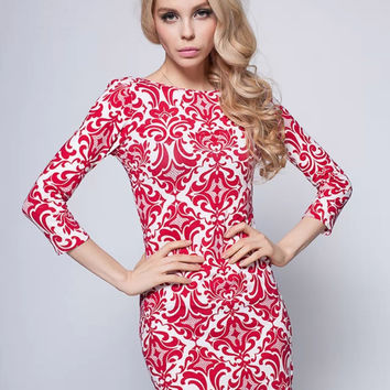 Red Long Sleeve Tribal Print Bodycon Dress