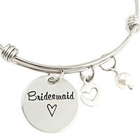Bridesmaid Bangle Bracelet With Pearl - Wedding Party Gift - Hand Stamped Jewelry