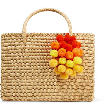 Nannacay - Maldives medium pompom-embellished woven raffia tote