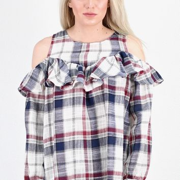 Plaid & Ruffles Long Sleeve Cold Shoulder Blouse {Navy Mix}