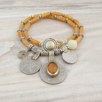Nomadic Talisman Necklace - Tribal Gypsy, Coin Jewelry, Belly Dance, Golden Yellow and Jade