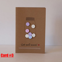 Get well soon greeting cards - jar of hearts / jar of pills