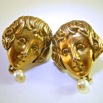 Face Earrings by GOLDETTE, Clip Screw Back, Pearl Dangle, Signed Vintage