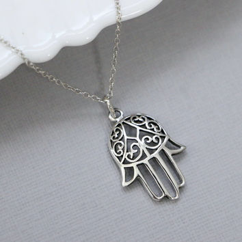 Sterling Silver Hamsa Hand Necklace, Sterling Silver Hamsa Hand Pendant on Sterling Silver Necklace Chain