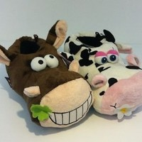 FUNNY UNISEX DOPEY COW CRAZY HORSE SUPER SOFT NOVELTY SLIPPERS SHOE NEW ADULT