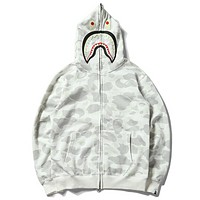 Bape Aape Autumn And Winter High Quality Fashion New Shark Camouflage Hooded Long Sleeve Sweater Coat White
