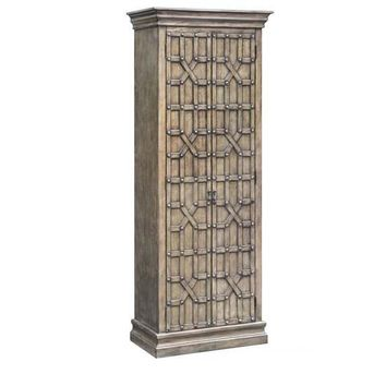 Sedgwick Overlaid Fretwork 2 Door Tall Cabinet In Antique Natual Walnut Finish By Crestview Collection Cvfzr2125