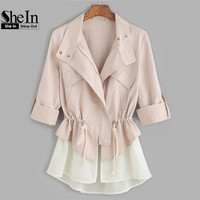 SheIn Jackets Coats Autumn Jacket for Women Color Block Casual Roll Sleeve Drawstring Jacket With Contrast Trim