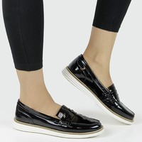 Vegan Vegetarian Non-Leather Womens Black Patent Loafers