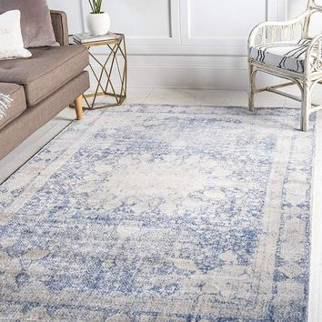 0137 Navy Blue Medallion Distressed Oriental Area Rugs