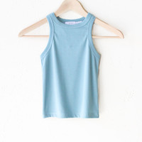 Ribbed Crop Top - Dusty Blue