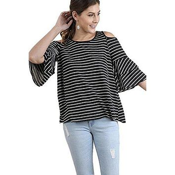Umgee Women's Striped Cold Shoulder Tunic With Tiered Elbow Length Bell Sleeves