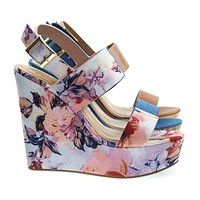 Charade52 Cork Platform Wedge Open Toe Sandal In Floral Print, Denim