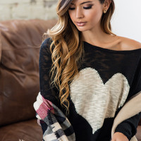 Vera Black Heart Sweater
