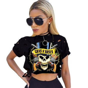Guns N Roses T-Shirts For Women Sexy Hollow Hole Ripped Crop Top