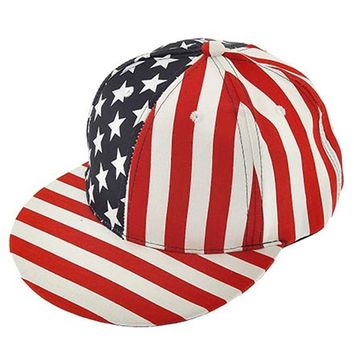 American Flag Flat Bill Hat