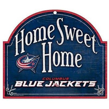 "COLUMBUS BLUE JACKETS HOME SWEET HOME ARCHED WOOD SIGN 10""x11"" NEW WINCRAFT"
