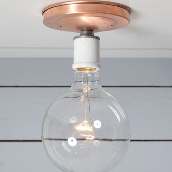 Copper Ceiling Mount Light - Bare Bulb