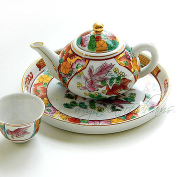 Petite Chinese teapot cup tray set small play tea party tea for one childrens four piece goldfish floral decoration porcelian China c 1980