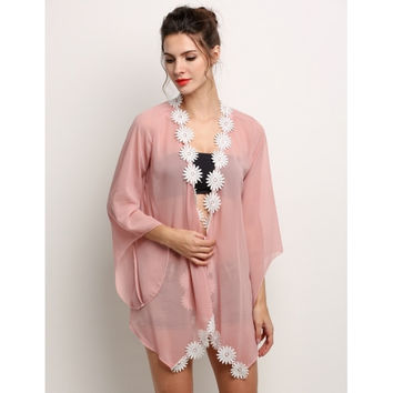 Fashion Women Summer Casual Chiffon Cardigan Loose Lace Splice Kimono Cardigan Blouse Tops