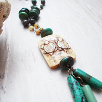 Carved bone turtle two sided pendant necklace, genuine turquoise & ocean jasper beaded jewelry, etched iris flower, ooak statement piece