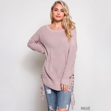 no bad days side grommet sweater - mauve