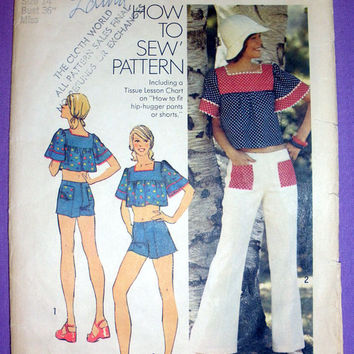 Retro 1970's Hip Hugger Bell Bottom Pants Or Shorts, Belly Top Misses' Size 14 Bust 36 Simplicity 6280 Sewing Pattern