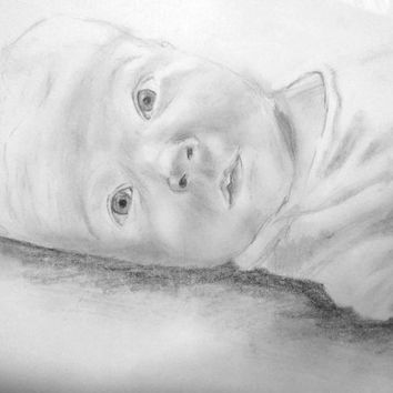 Custom Portrait Drawing of Baby, Child, or Family, from Photo
