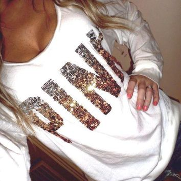 victoria s secret pink women s fashion letter print round neck long sleeves pullover tops sweater