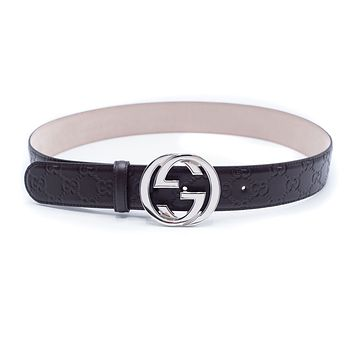 Gucci Men's Brown Signature Leather Belt Size E90/US36~RTL$390~NIB~New