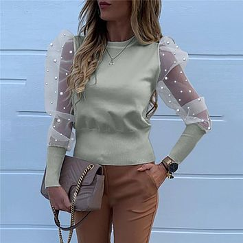 Women Mesh Sheer Blouse See-through Puff Long Sleeve Blouse Fashion Pearl Transparent White Shirt Woman Autumn Tops
