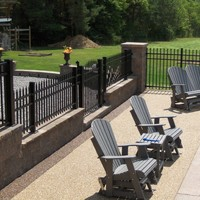 aluminum fence ideas with stone columns - Google Search