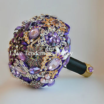 Wedding Jewelry Bouquet Purple and Gold Wedding Bouquet Brooch Bouquet Lilac and Black Wedding Bouquet Bridal Bouquet Crystal Bouquet