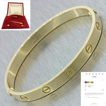 Cartier 18K Yellow Gold Love Screw Bangle Bracelet Size 18 w/Papers Pouch