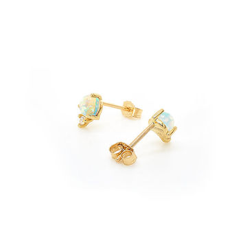 Opal & Diamond Modern Minimalist Stud Earrings 14k Yellow Gold
