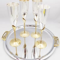"""Champagne Goblets, Brass and Silver Plate Flutes, 9 1/4"""" Tall Flutes, Tray Sold Separately"""