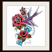 Bird Tattoo Cross Stitch Pattern | Los Angeles Needlework