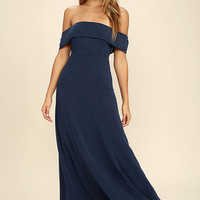 Perfectly Poised Navy Blue Off-the-Shoulder Maxi Dress