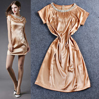 Metallic Gold Beaded Ruched Short Sleeve Silk Mini Dress