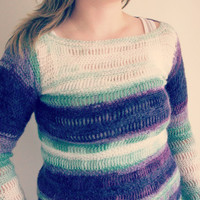 Purple green and white tunic length sweater size medium  lace weight mohair vertical stripes