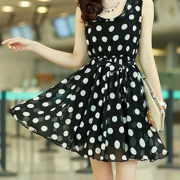 Polka Dot Tie-Waist Chiffon Dress