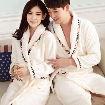 2017 Peignoir Homme Kimono Camisola Robes Bathrobe Men Fall Winter Flannel Nightgown Long Sleeved Robe Woman Couple Thickened