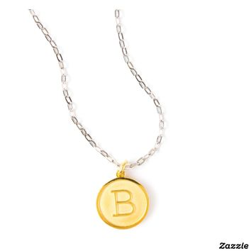 Gold Plated Initial Pendant on Silver Cable Chain | Zazzle