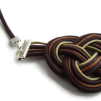 Sailor knot necklace, cord jewellery, statement jewellery,earth tones, macrame, gift for her